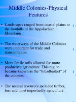 middle colonies physical features