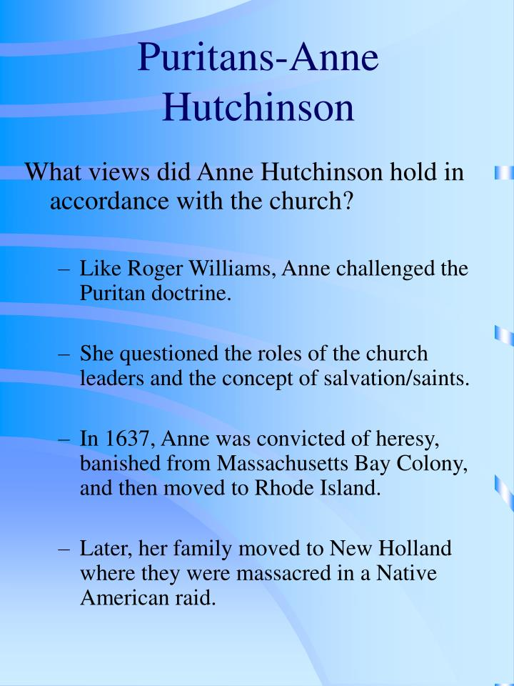 Puritans-Anne Hutchinson