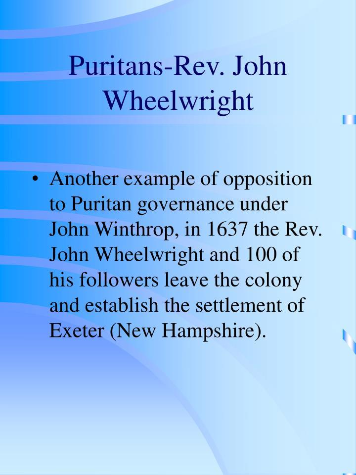 Puritans-Rev. John Wheelwright
