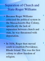 separation of church and state roger williams