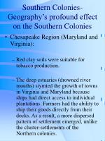 southern colonies geography s profound effect on the southern colonies