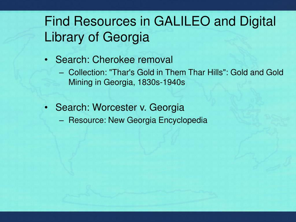Find Resources in GALILEO and Digital Library of Georgia