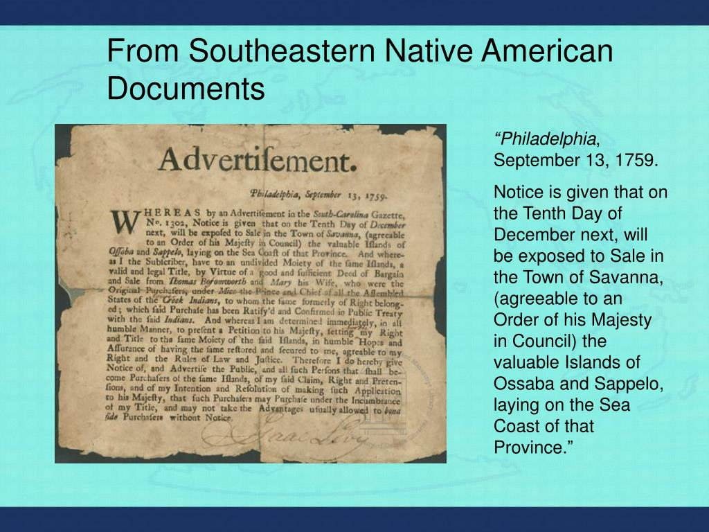 From Southeastern Native American Documents