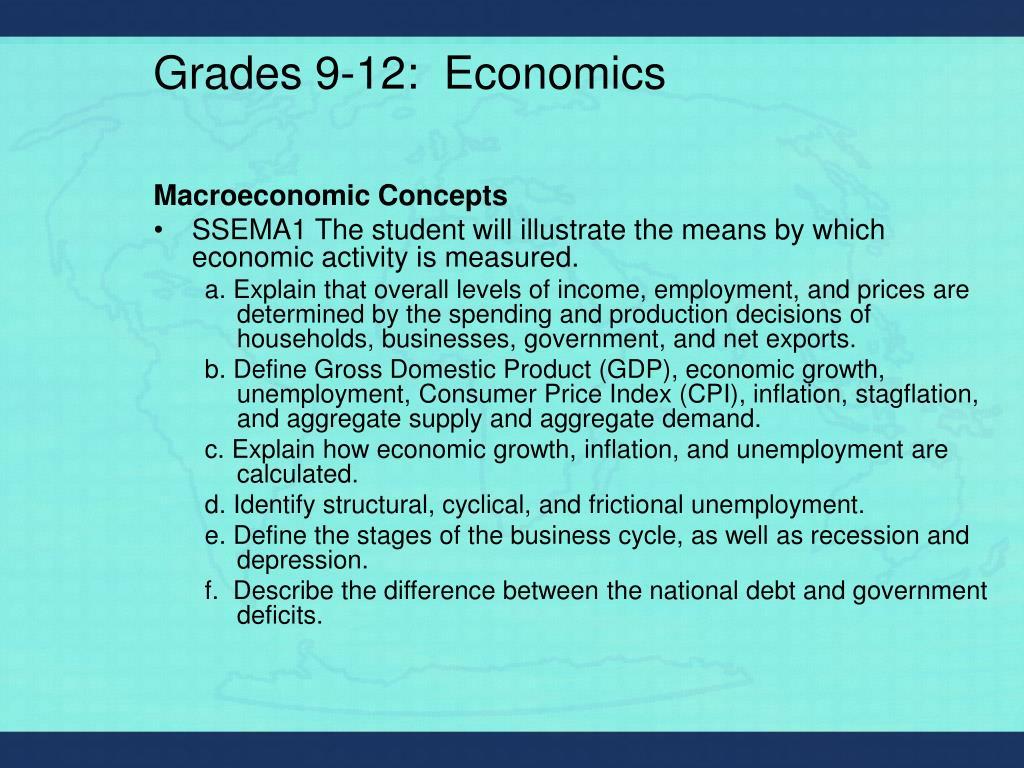 Grades 9-12:  Economics