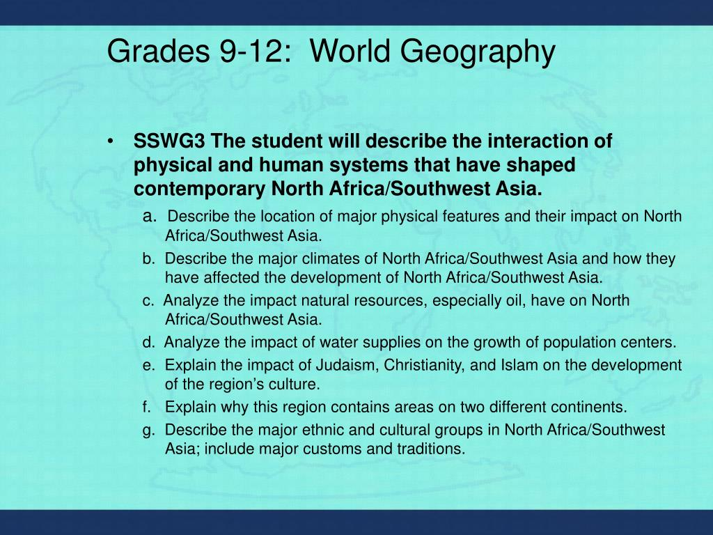 Grades 9-12:  World Geography