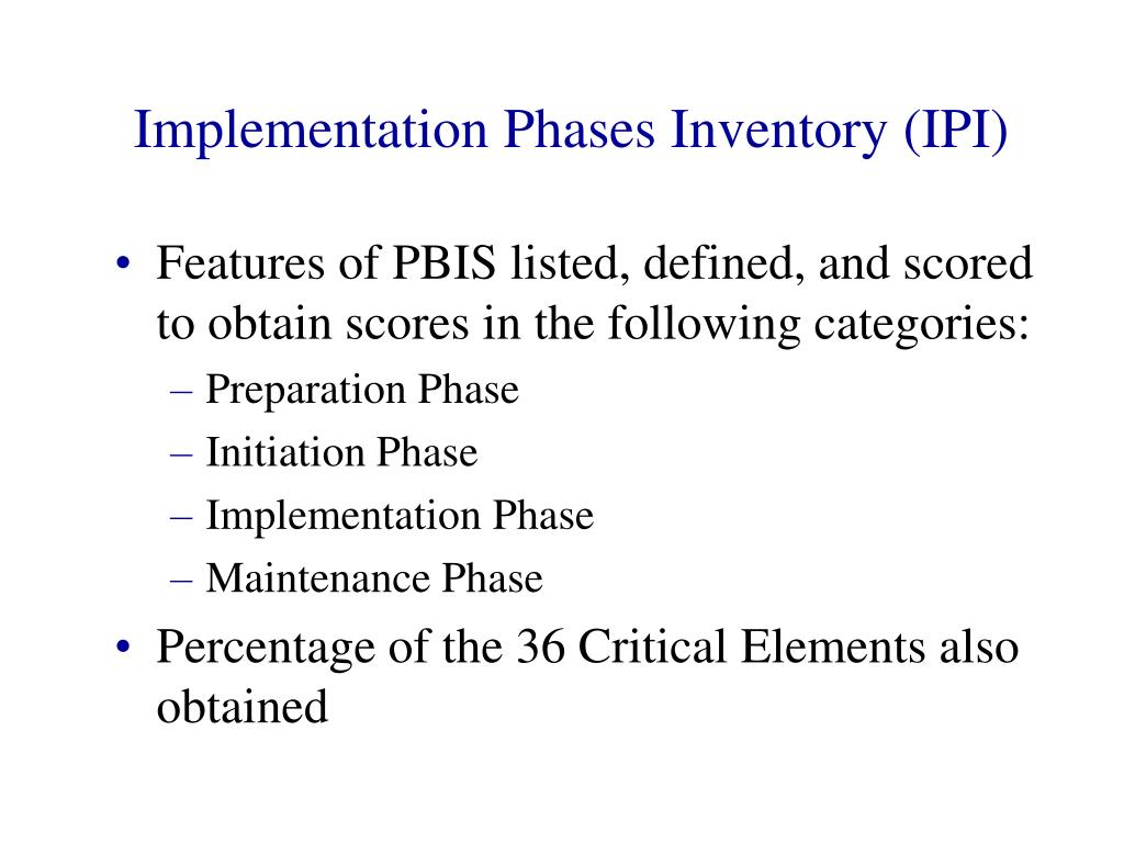 Implementation Phases Inventory (IPI)