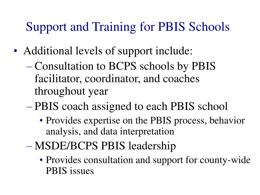 Support and Training for PBIS Schools