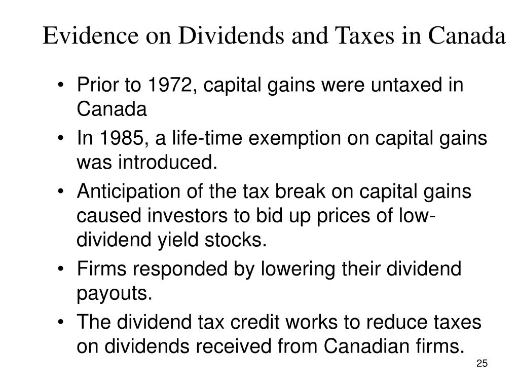 The dividend tax credit works to reduce taxes on dividends received ...