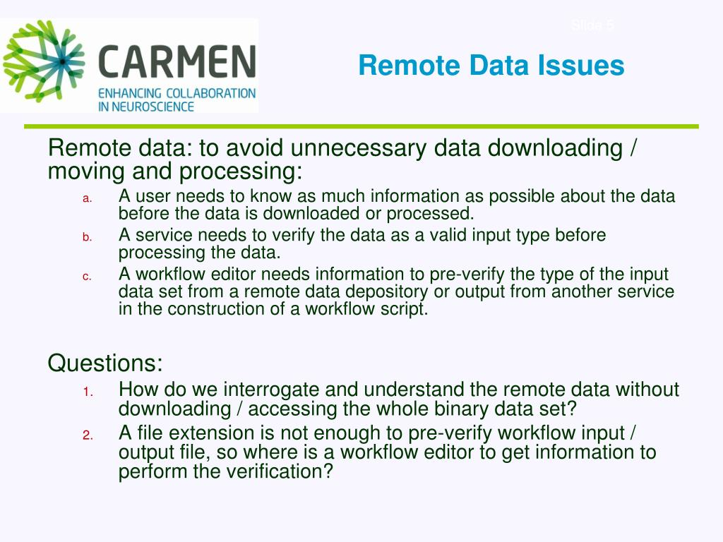 Remote Data Issues