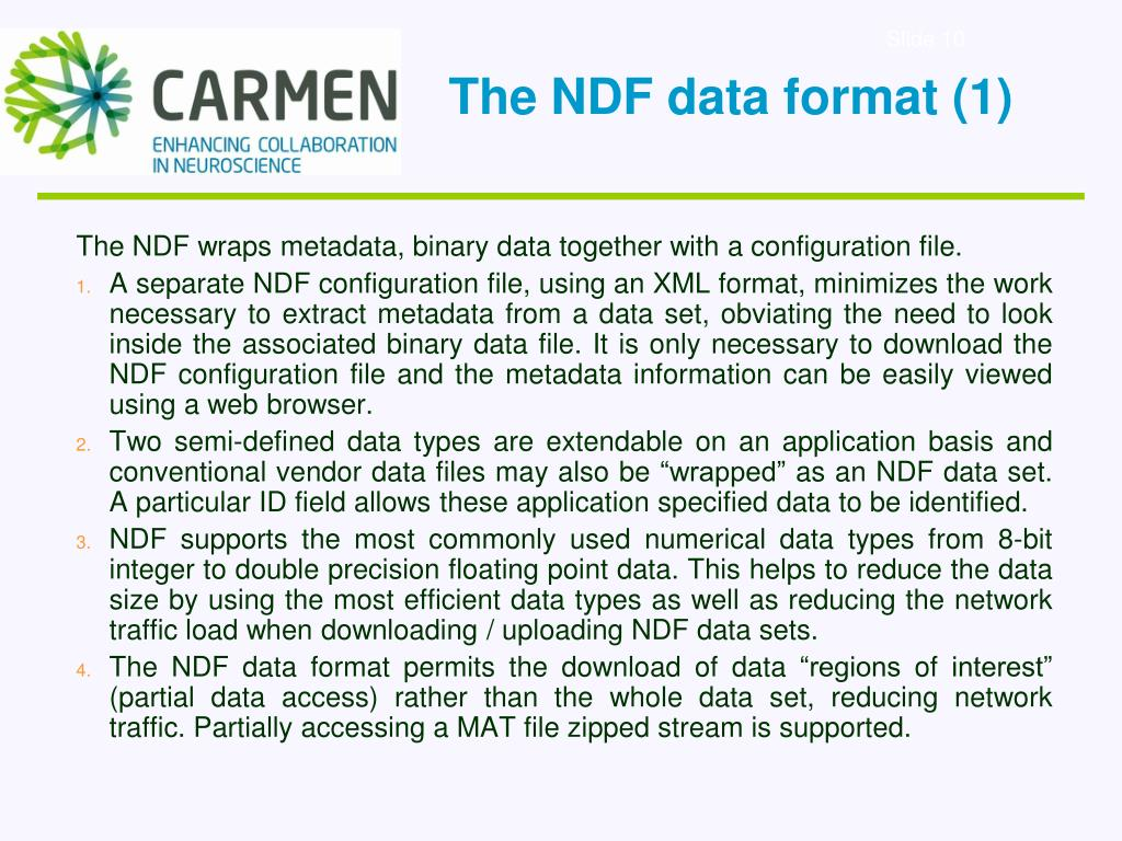 The NDF data format (1)