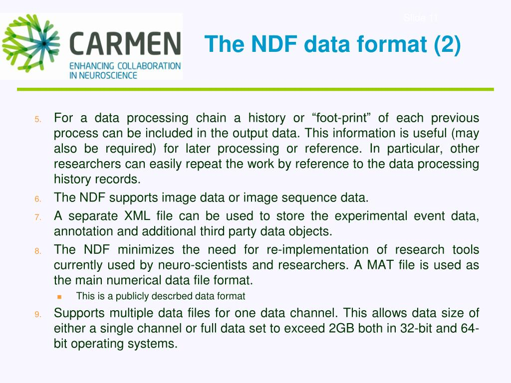 The NDF data format (2)