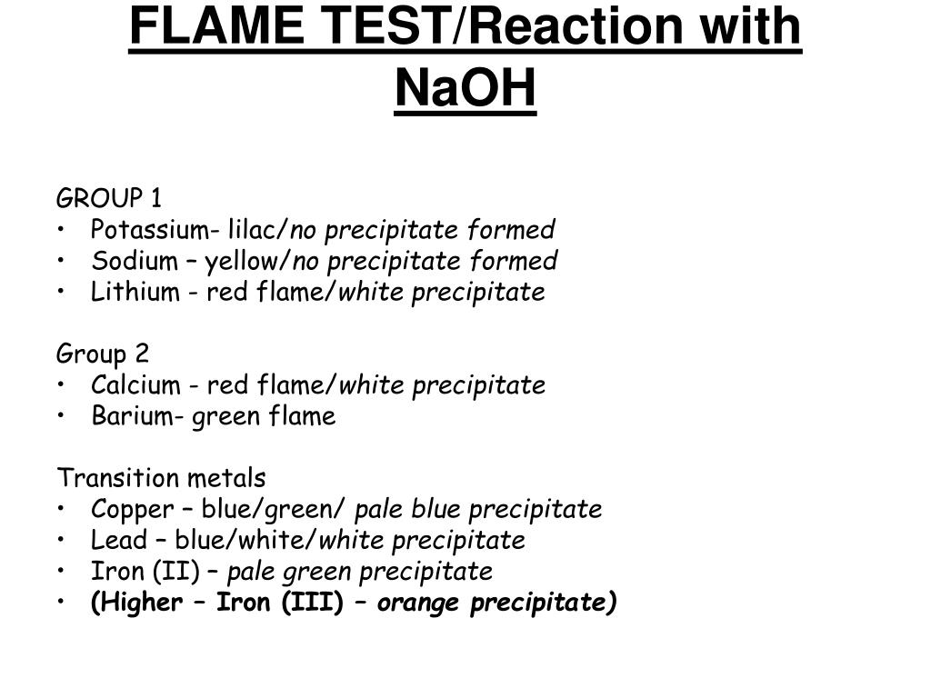 FLAME TEST/Reaction with NaOH