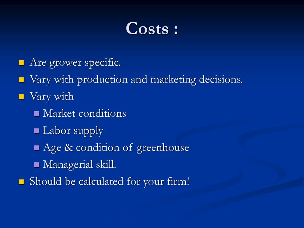 Costs :
