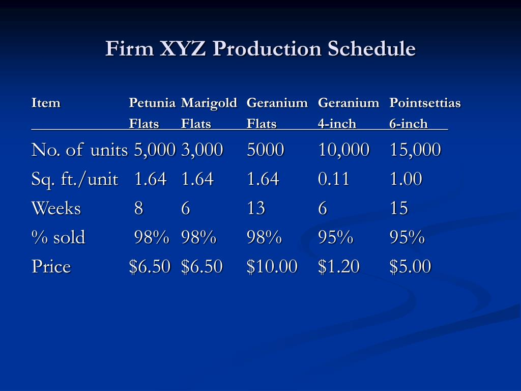 Firm XYZ Production Schedule