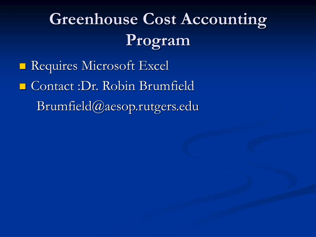 Greenhouse Cost Accounting Program