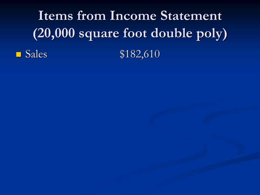 Items from Income Statement