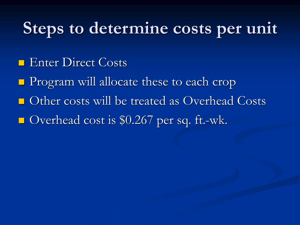 Steps to determine costs per unit