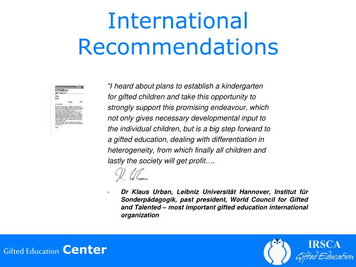 International Recommendations