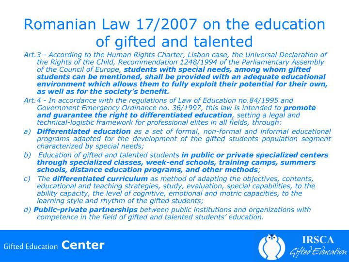 Romanian Law 17/2007 on the education of gifted and talented