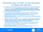 romanian law 17 2007 on the education of gifted and talented