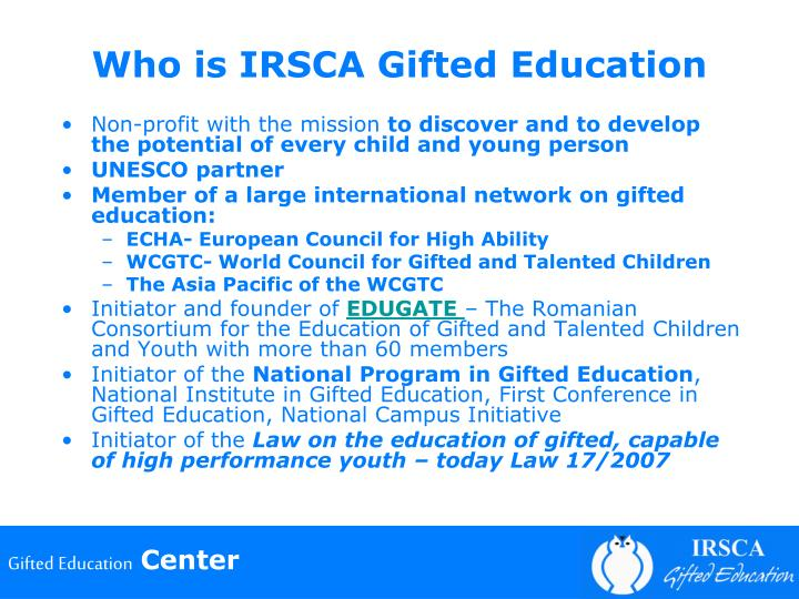 Who is IRSCA Gifted Education