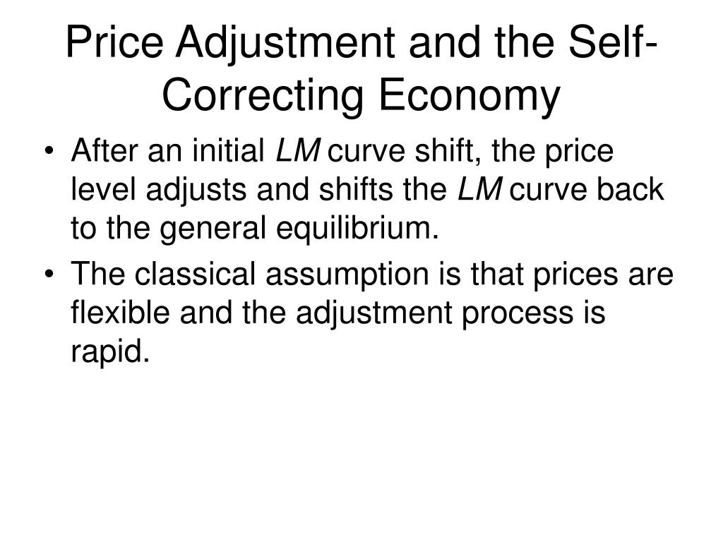 Price Adjustment and the Self-Correcting Economy