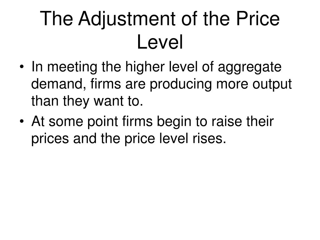 The Adjustment of the Price Level