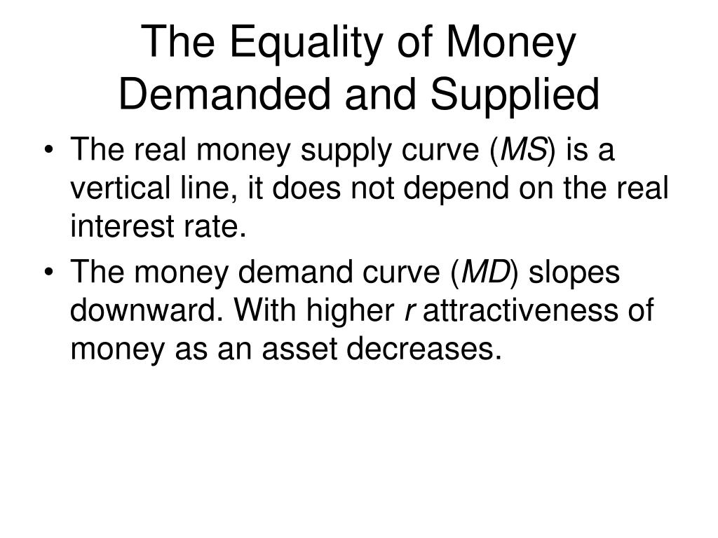 The Equality of Money Demanded and Supplied
