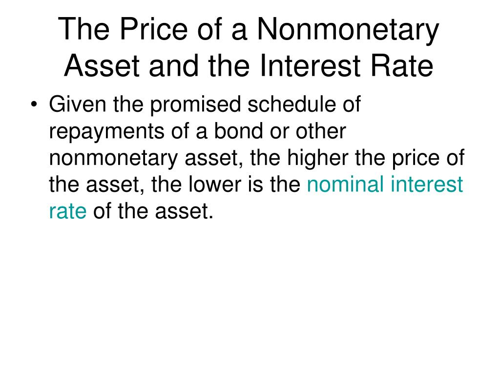 The Price of a Nonmonetary Asset and the Interest Rate