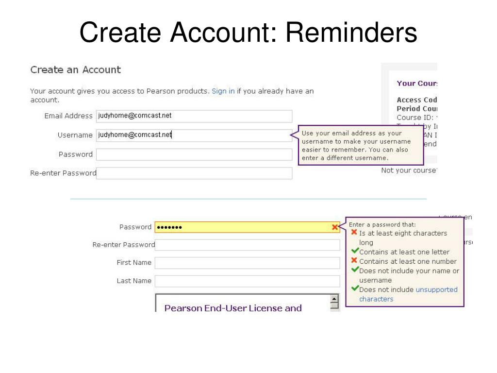 Create Account: Reminders