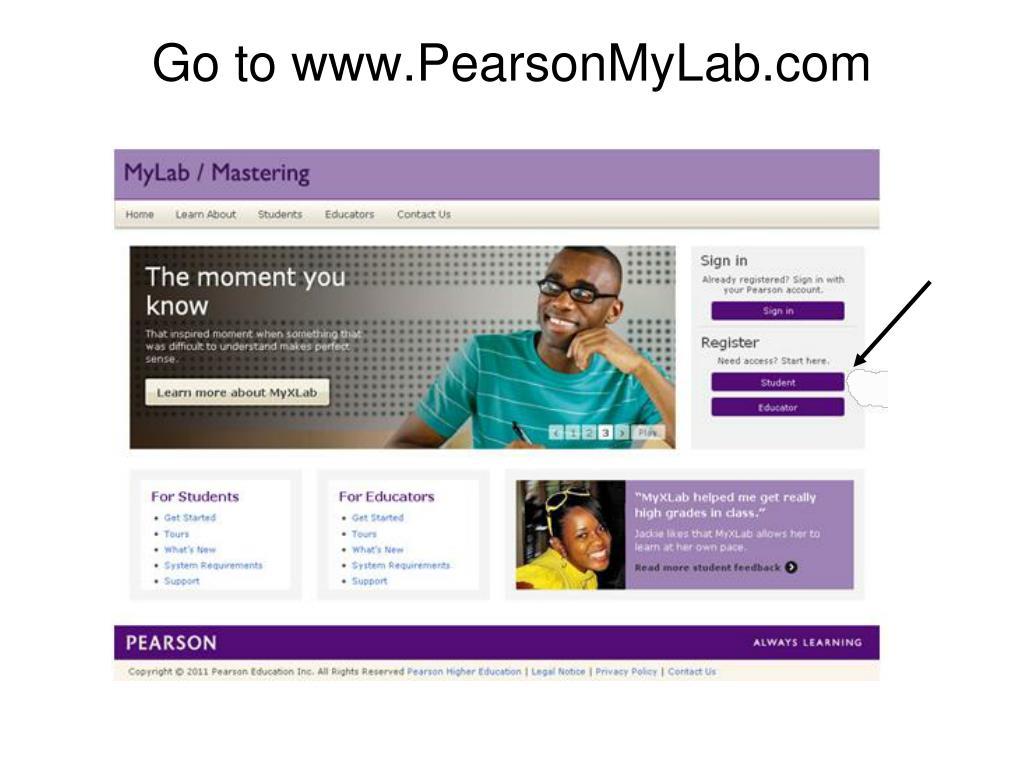Go to www.PearsonMyLab.com