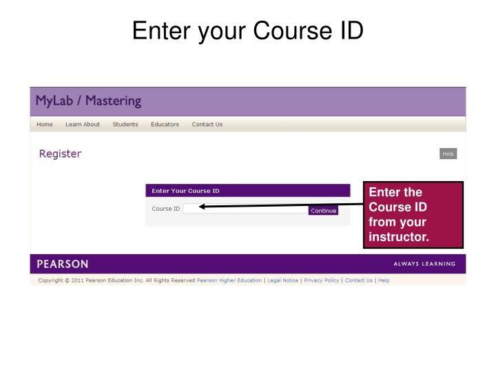 Enter your Course ID
