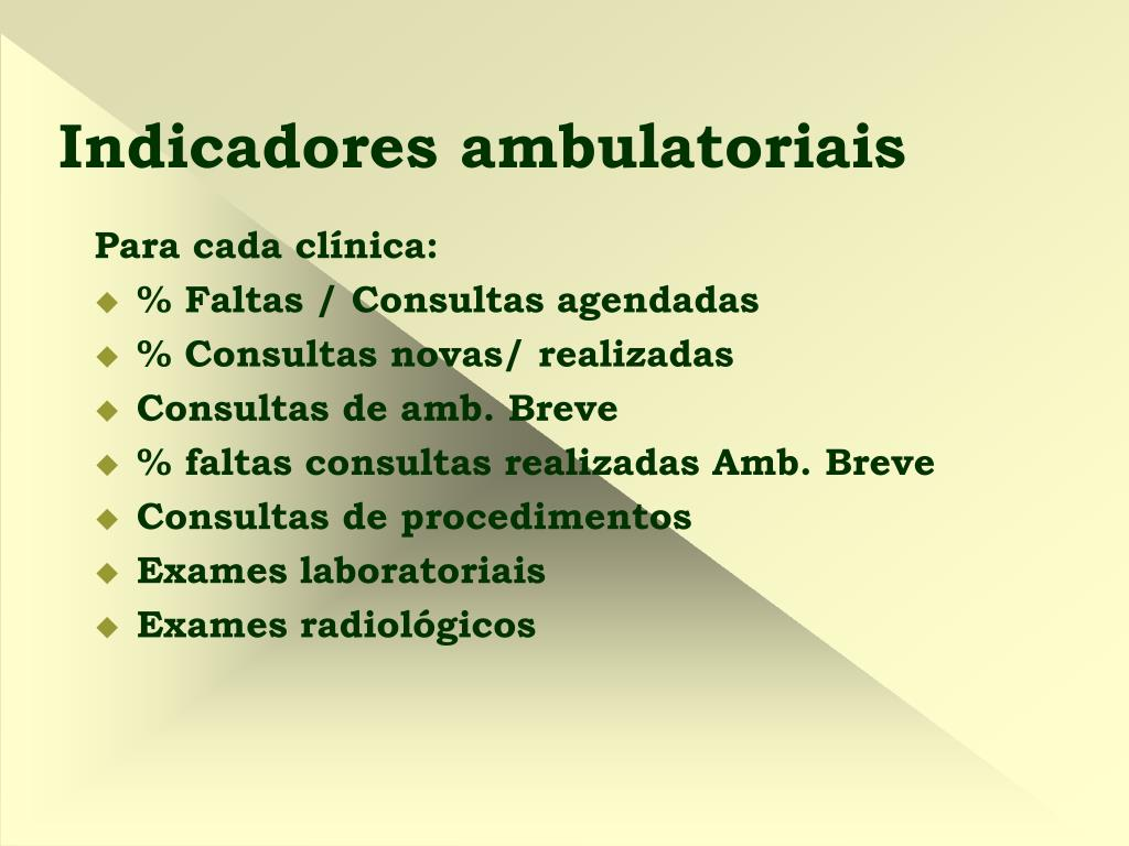 Indicadores ambulatoriais