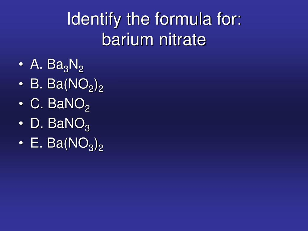 Identify the formula for: