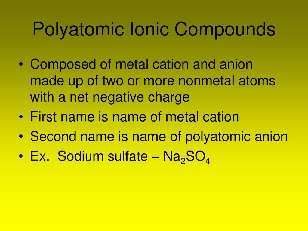 Polyatomic Ionic Compounds