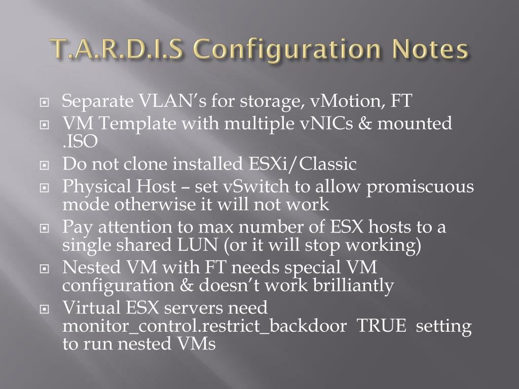T.A.R.D.I.S Configuration Notes