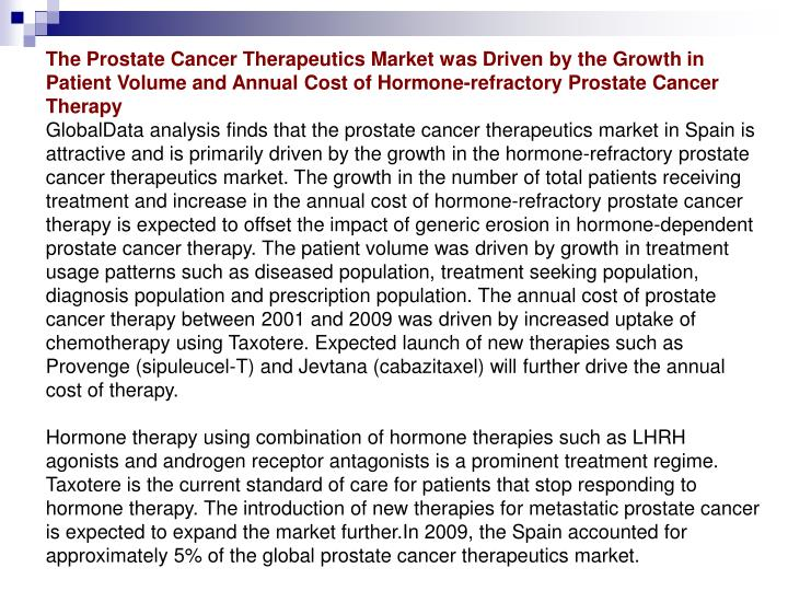 The Prostate Cancer Therapeutics Market was Driven by the Growth in Patient Volume and Annual Cost o...