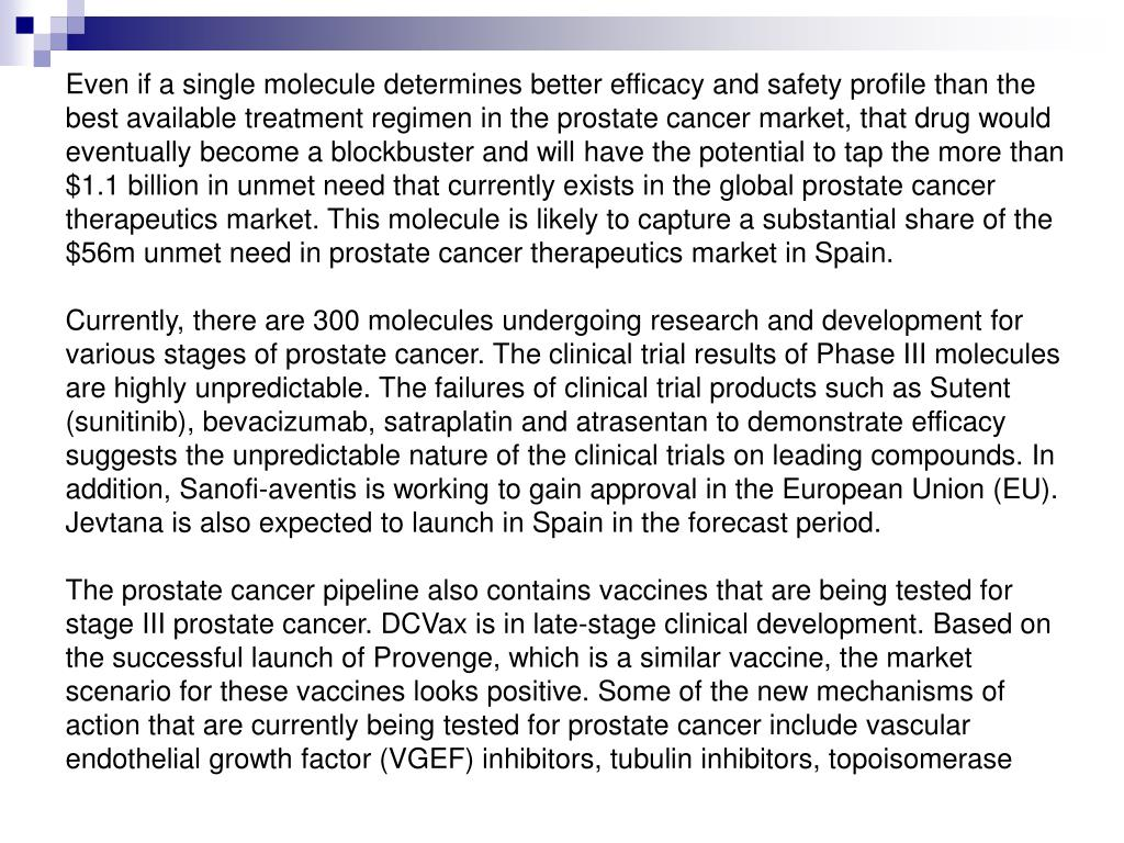 Even if a single molecule determines better efficacy and safety profile than the best available treatment regimen in the prostate cancer market, that drug would eventually become a blockbuster and will have the potential to tap the more than $1.1 billion in unmet need that currently exists in the global prostate cancer therapeutics market. This molecule is likely to capture a substantial share of the $56m unmet need in prostate cancer therapeutics market in Spain.