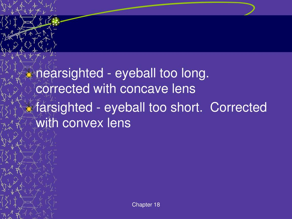 nearsighted - eyeball too long.  corrected with concave lens