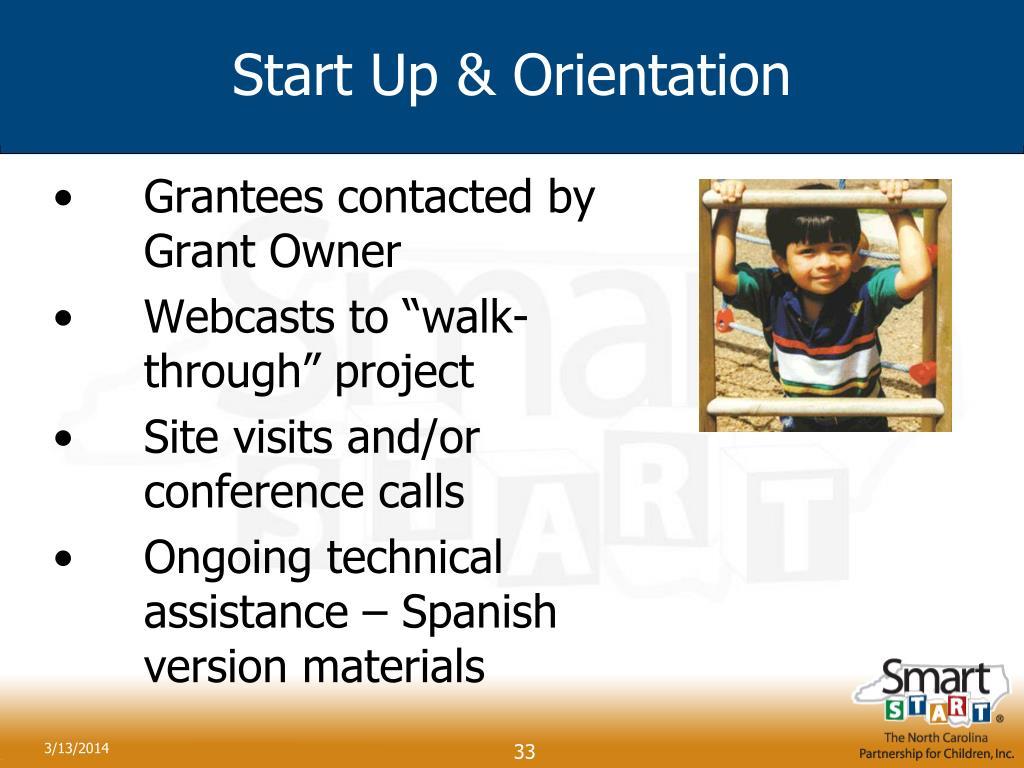 Start Up & Orientation