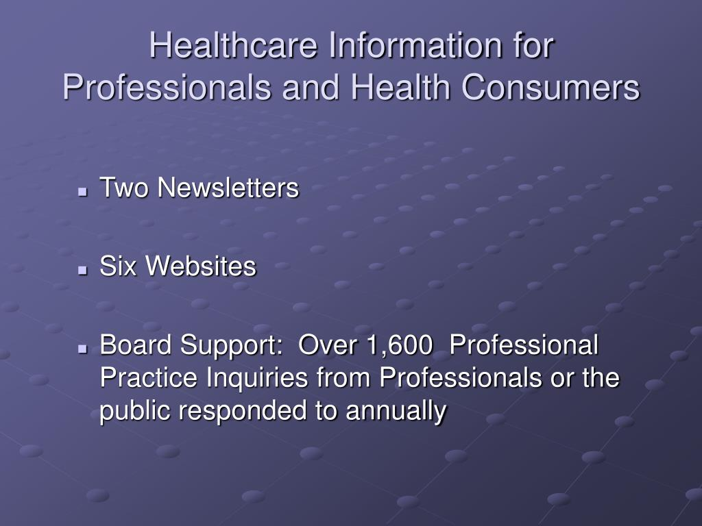 Healthcare Information for Professionals and Health Consumers
