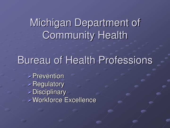 Michigan department of community health bureau of health professions