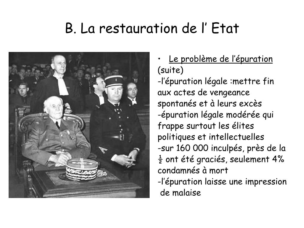 B. La restauration de l' Etat