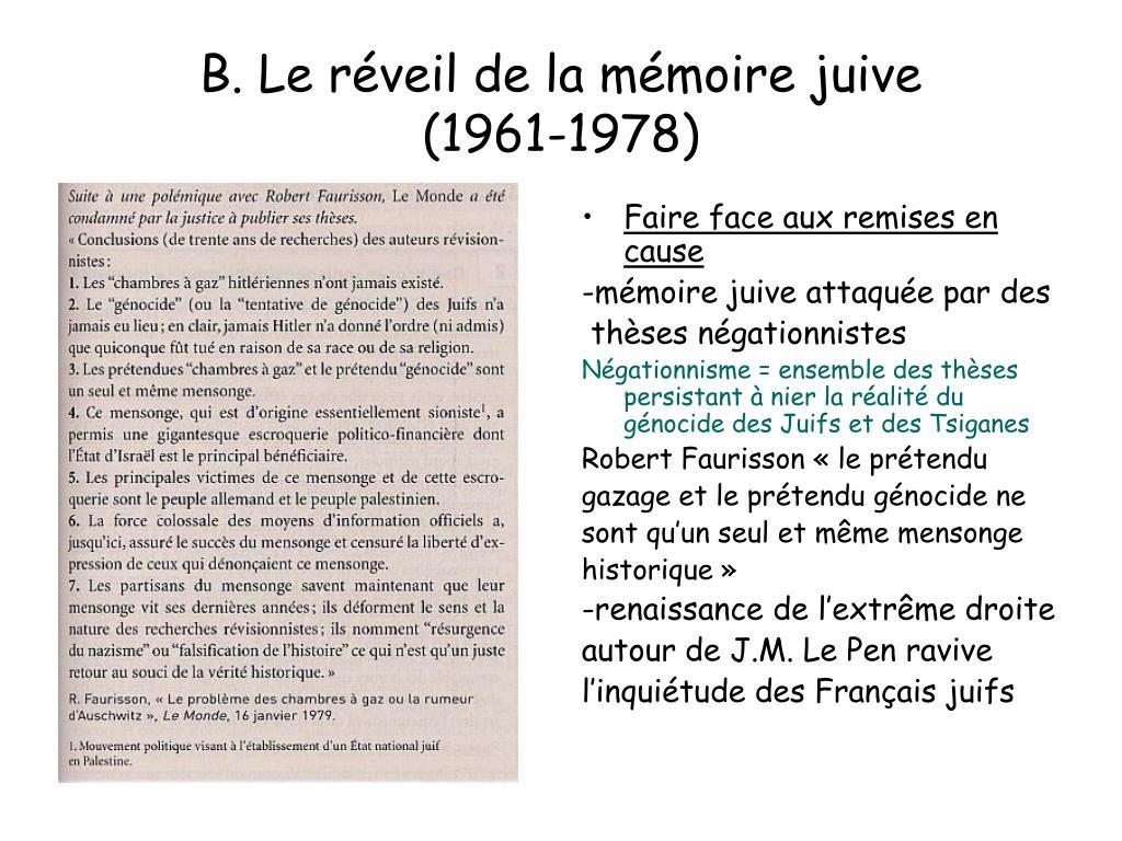 B. Le réveil de la mémoire juive