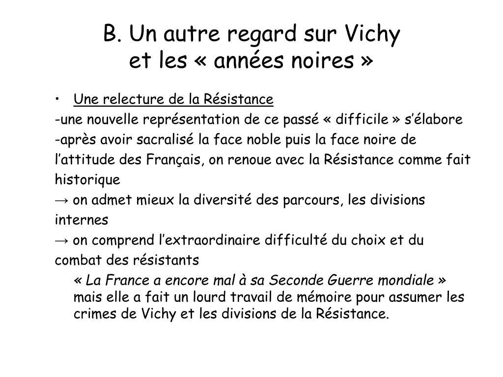 B. Un autre regard sur Vichy
