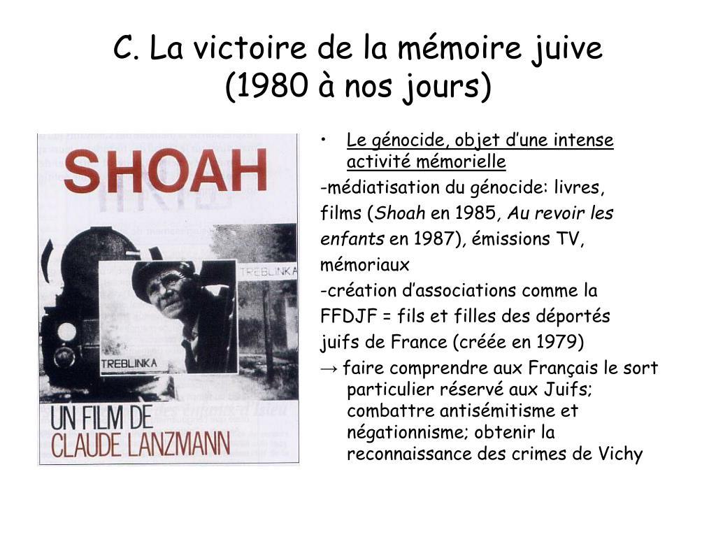 C. La victoire de la mémoire juive