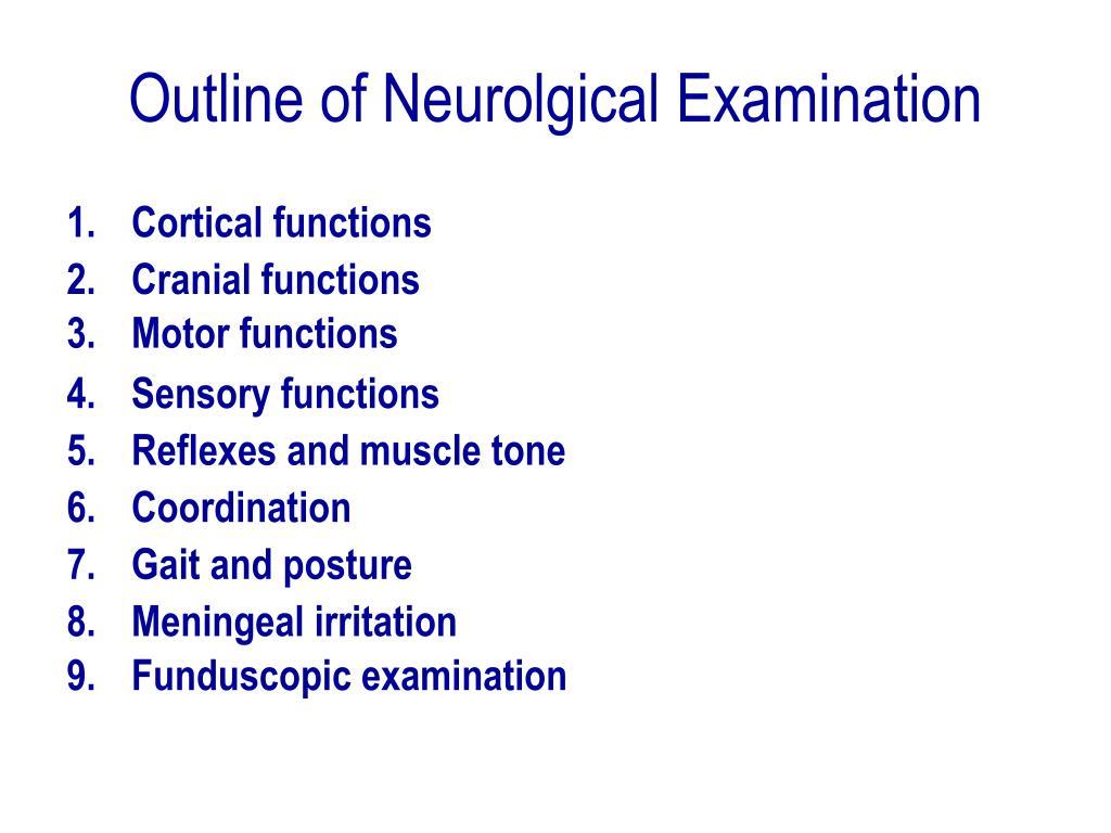 Outline of Neurolgical Examination