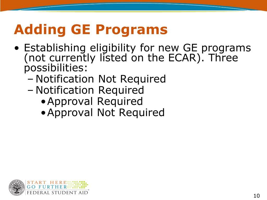 Adding GE Programs