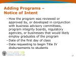 adding programs notice of intent17
