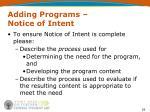 adding programs notice of intent18